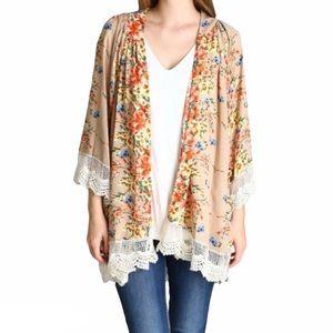 Umgee Floral Lace Bomb Kimono